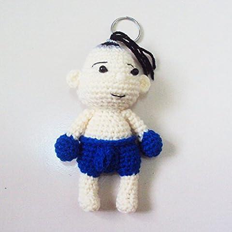 Agility Blue Boxing Boy Cute Doll Knitting Yarn Crochet Key Chain, Key Ring (Return Labels For My Orders)
