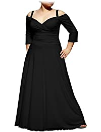 9805181df3188 Women s Plus Size Elegant Long Formal Evening Dress with 3 4 Sleeves