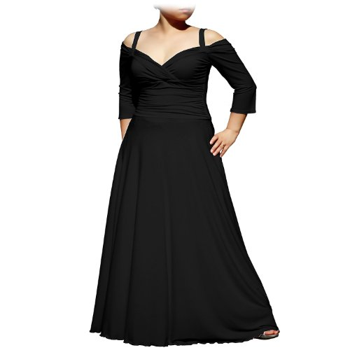 (EVANESE Women's Plus Size Elegant Long Formal Evening Dress with 3/4 Sleeves 3X. Black)