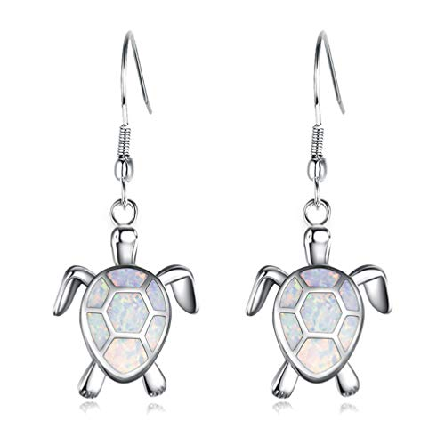 Hermosa Mom Gifts Sea Turtle Blue Opal Women Pendant Necklace Earrings Jewelry Sets (Earrings006-white)