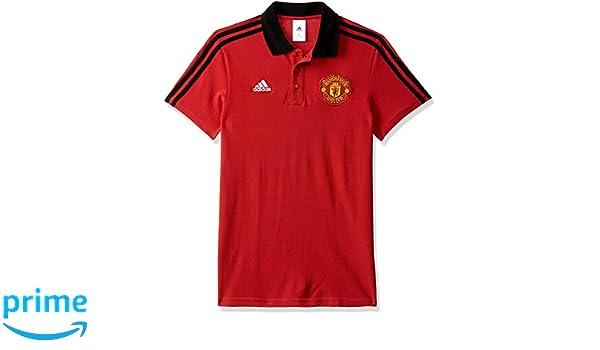 adidas 3S Polo de Manchester United FC, Hombre, Rojo (rojrea/Negro ...