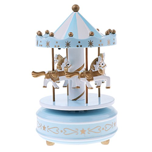 Fityle Home Table Ornament Clockwork Music Box Carousel Rocking Horse w/ Light Gift - Blue, as described (Box Horse Music Rocking)