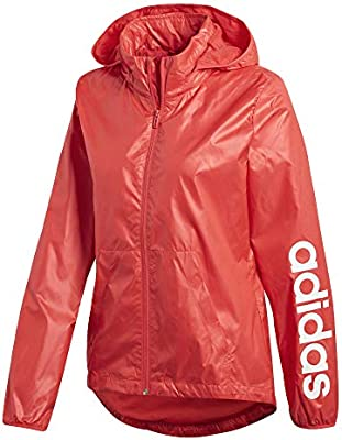 adidas Women's Linear Windbreaker Jacket, Womens, Real Coral