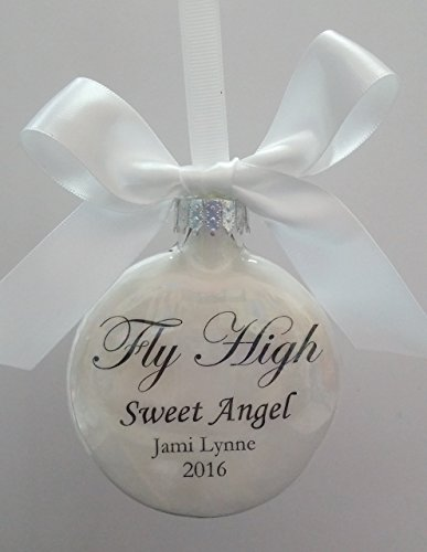 Glass Memorial Ornament In Memory - Fly High Sweet Angel Christmas Keepsake - Personalized Sympathy Gift -