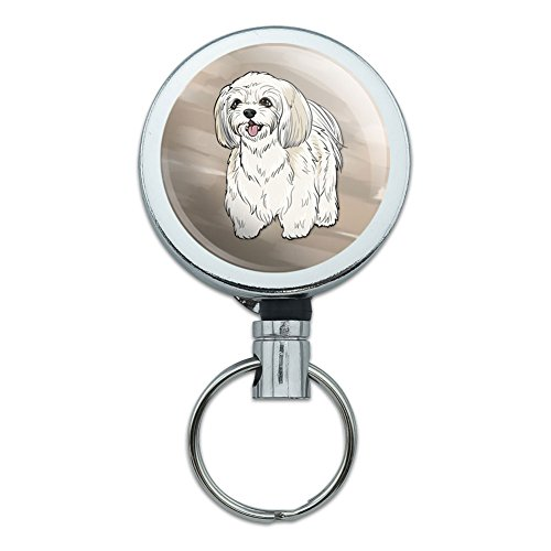 All Metal Retractable Reel ID Badge Key Card Holder with Belt Clip Dog Puppy - Shih Tzu
