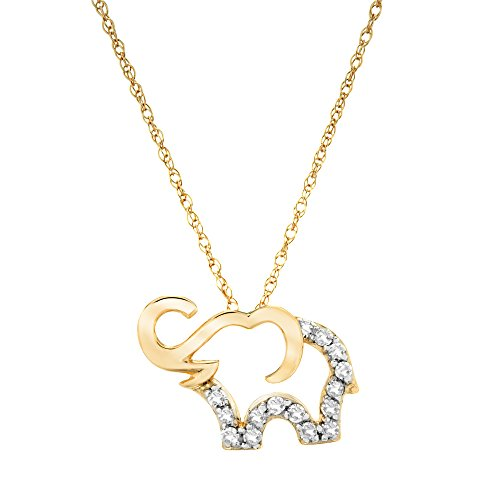 "Brilliant Designers 10K Yellow Gold & 1/10 CTTW Diamond (IJ/I2I3) Elephant Pendant With 18"" Yellow Gold Chain ()"