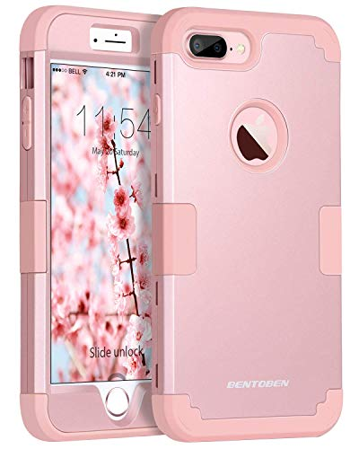 (BENTOBEN Heavy Duty Slim Shockproof Drop Protection 3 in 1 Hybrid Hard PC Covers Soft Rubber Bumper Protective Case for iPhone 8 Plus / 7 Plus Cute Rose Gold)