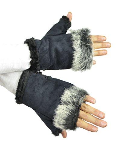 Belle Donne - Women's Fingerless Faux Fur Trim Gloves - Navy (Lady In The Navy Gloves)
