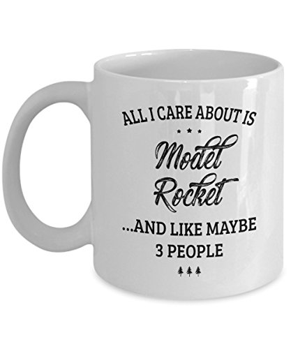 Model Rocket Mug - I Care And Like Maybe 3 People - Funny Novelty Ceramic Coffee & Tea Cup Cool Gifts for Men or Women with Gift Box