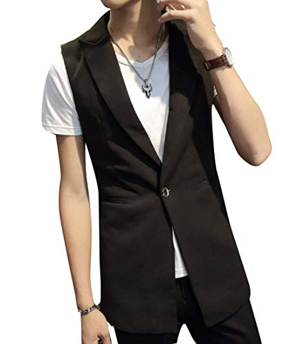 (Coolred-Men Slimming Single Button Longline Business Vest with Brooch Black 2XL)