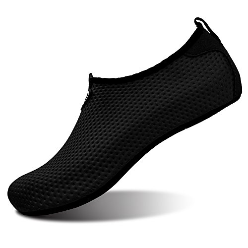 L-RUN Unisex Water Shoes Barefoot Skin Shoes For Run Dive Surf Swim Beach Yoga (XXL(W:12-13,M:9-9.5), Pure Black)