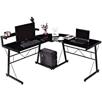 Tangkula L Shape Computer Desk Home Office Modern Corner Glass Top Workstation Writing Table