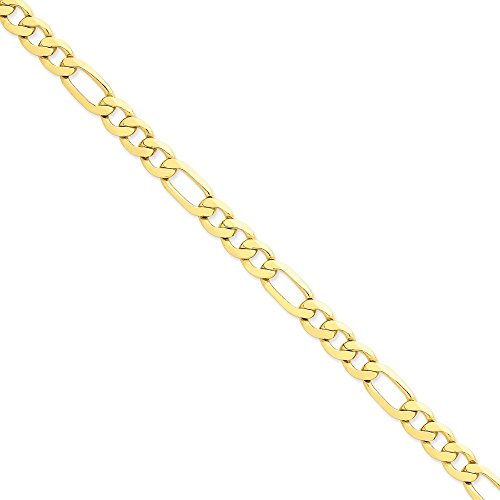 14k Yellow Gold 8.75mm Concave Open Figaro Link Chain 9'' Men's Bracelet by Jewelplus