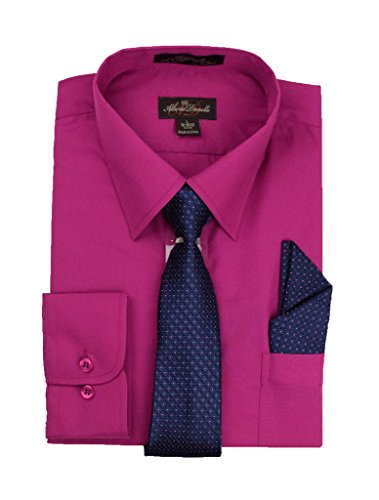 Alberto Danelli Men's Long Sleeve Dress Shirt with Matching Tie and Handkerchief, Large / 16-16.5 Neck -34/35 Sleeve, Festival Fuchsia