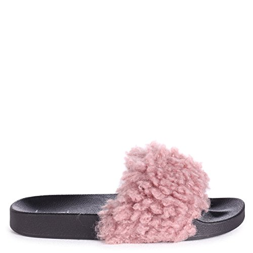 Dolly - Pink Faux Shearling Sliders Pink RO2fsW77