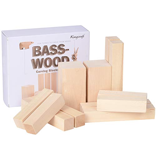 (KINGCRAFT 12 Pack Basswood Carving Blocks Soft Solid Wooden Whittling Kit for Whittler Starter Kids)
