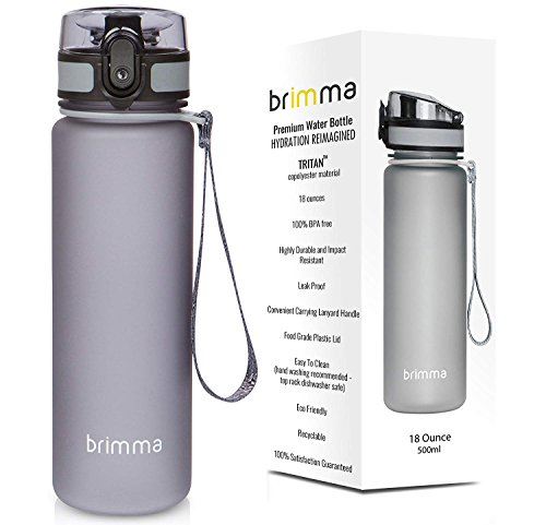 Brimma Premium Sports Water Bottle with Leak Proof Flip Top Lid - 18 Oz - Eco Friendly & BPA Free Tritan Plastic - Must Have for The Gym, Yoga, Running, Outdoors, Cycling, and Camping - by from Brimma