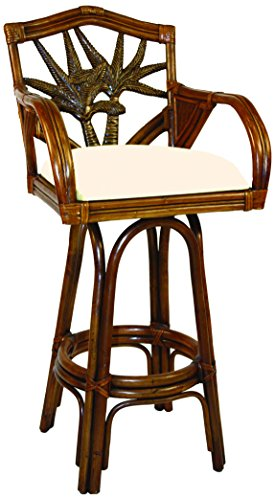 Hospitality Rattan 401-6179-TCA-B Cancun Palm Indoor Swivel Rattan & Wicker Bar Stool with Cushions, 30