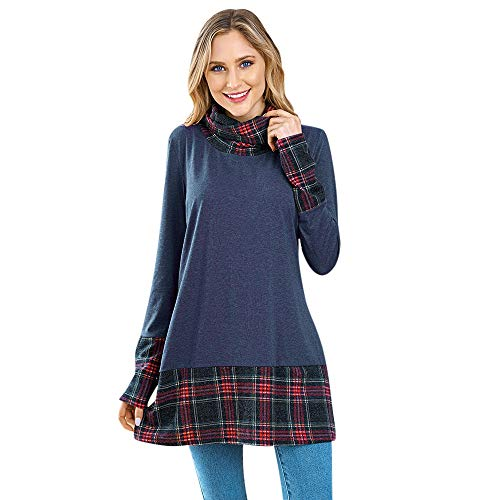 KCatsy Womens Blouse Long Sleeve Turtle Neck Spliced Plaid Print Pullover T Shirt Tunic Tops(Blue,US (Sox Force Polo)