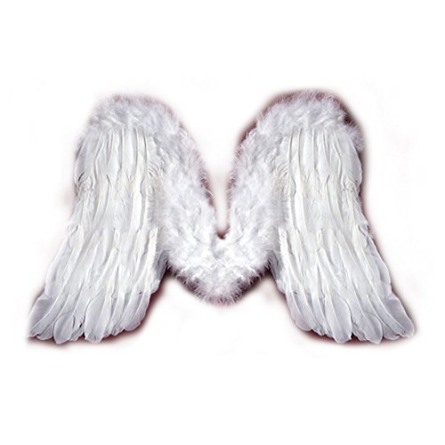 SACASUSA (TM) New Medium Feather White Fairy Angel Wings For Children Kids Toddler (Large White Feather Angel Wings)