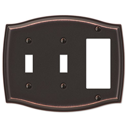 Double Toggle Single GFCI Rocker Switch Plate Outlet Cover Rocker Toggle Light Wall Plate - Oil Rubbed Bronze (Bronze Double Rocker)