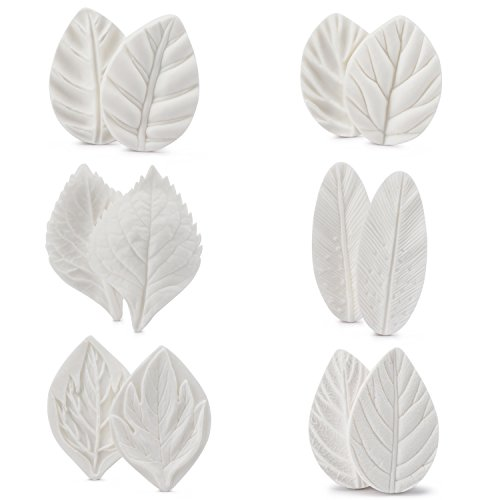 Leaf Fondant Mold Set, Beasea 6 Sets Leaf Press Mold Styling Chocolate Sugar Cookie Cutter Set Silicone Mould Kit Cake Fimo by Beasea