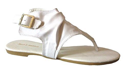 New Womens Sandals Roman Gladiator Flats T Straps Thongs Ladies Shoes Medusa & Eva (10, White *Rog-03)