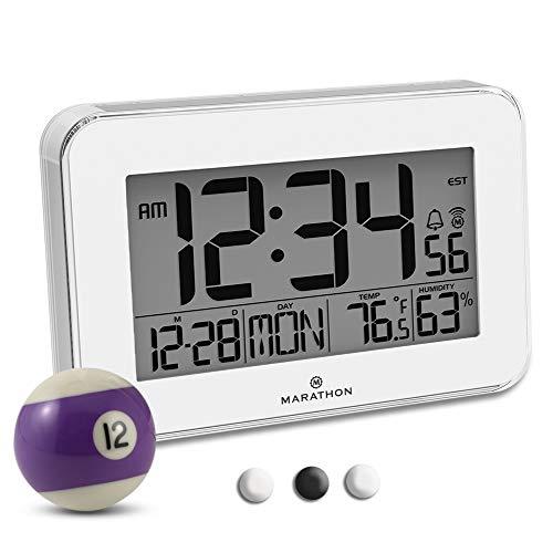 Marathon CL030060WH Designer Wall Clock Acrylic Bezel. Displays Indoor Temperature