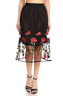 2ND DATE Women's Floral Black Mesh Overlay Skirt