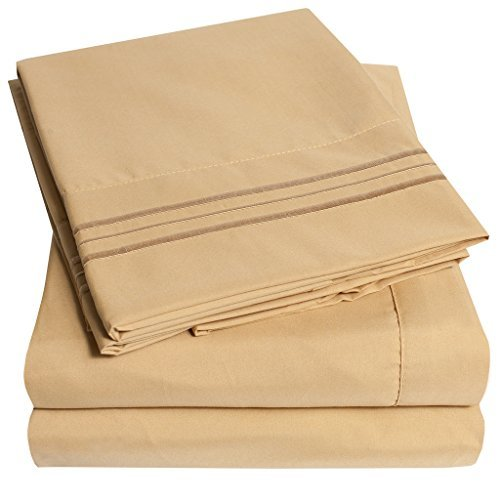 1500 Thread Count Supreme Collection 4pc Bed Sheet Set Deep Pocket, 12 Colors - Queen, Camel