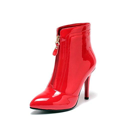 BalaMasa Womens Stiletto Zipper Anti-Skidding Bottom Patent Leather Boots Red UpD1kZt1O