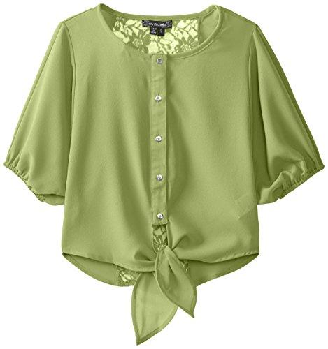 My Michelle Big Girls' Chiffon Tie-Front Button-Down Blouse