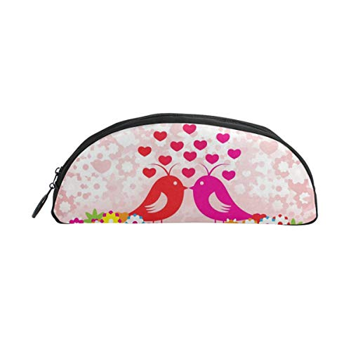 HengZhe Pencil Case Birds Love Pen Bag Cosmetic Pouch Students Stationery Holder Office Organizer -