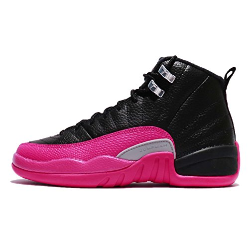 Jordan Retro 12 ''Deadly Pink'' Black/Deadly Pink (Big Kid) (7 M US Big Kid) by NIKE
