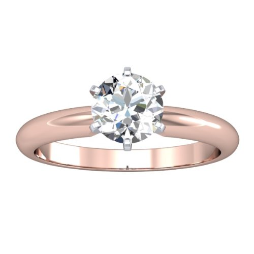 14K Rose Gold Solitaire Diamond Engagement Ring Round Brilliant Cut ( D Color SI2 Clarity 0.46 ctw) - Size 9.5