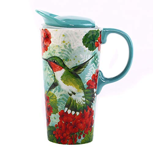 Topadorn Ceramic Mug Travel Coffee Porcelain Latte Tea Cup With Lid 20oz. Green Bird ()