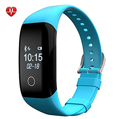 IP68 Waterpoof Heart Rate Monitor Bluetooth Activity Tracker with BMI Management,Tracking Steps,Distance,Calories Burned,Fat Burned Functions, Sleep Monitor for Android IOS