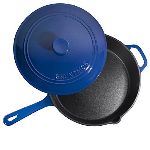 Enameled Cast Iron Skillet Deep Sauté Pan with Lid, 12 Inch, Duke Blue, Superior Heat Retention by Bruntmor (Image #4)