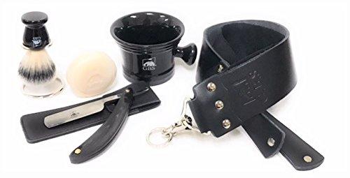 GBS Premium Black Edition Horn Shave Ready Carbon Steel Straight Edge Blade Razor, Leather Case & Strop,Brush, Stand, Ceramic Mug & Soap Ultimate Classic Vintage Beard & Wet Shaving Kit -