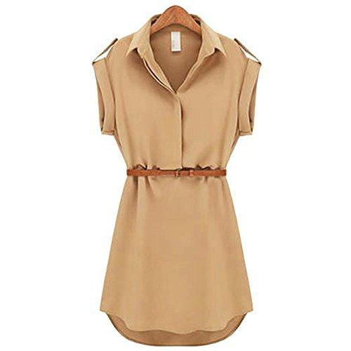 Pinup Women's Cap Sleeve Stretch Chiffon Casual OL Belt Shirt Mini Dress