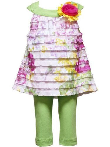 Toddler Lime Floral Ruffle Capri Set Rare Editions Size 2T
