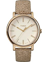 Timex Women's Modern Originals Grande Classics T2P325AW Gold Case and Brown Textured Strap
