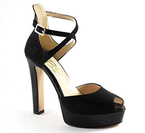 Locura divina 103 del talón del zapato negro mesetas verificado Nero