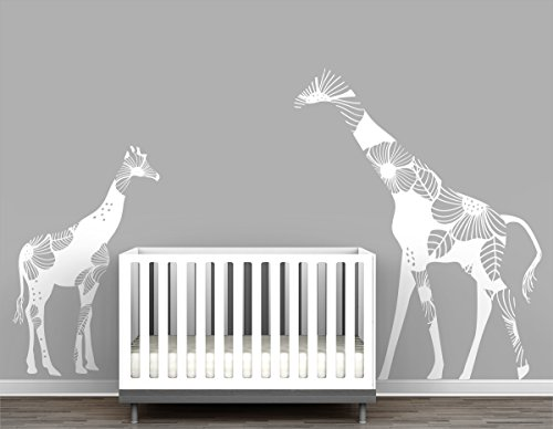Mom and Baby Floral Giraffe Large Wall Decal Romantic Safari Theme Nursery Decor by LittleLion Studio