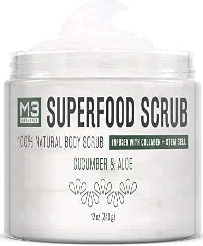 M3 Naturals Superfood Scrub infused with Collagen and Stem Cell All Natural Cucumber and Aloe Body Face Wash Exfoliating Facial Cleanser for Acne Cellulite Wrinkles Scars Skin Care 12 oz