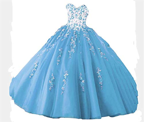 DKBridal Women's Sweetheart Embroidery Quinceanera Dresses Appliques Sweet 16 Ball Gown Blue 12