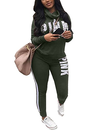 Akmipoem Fashion Letter Print Long Sleeve Sweatshirt Tops and Skinny Pants Two Piece Outfit For Junior Army Green L