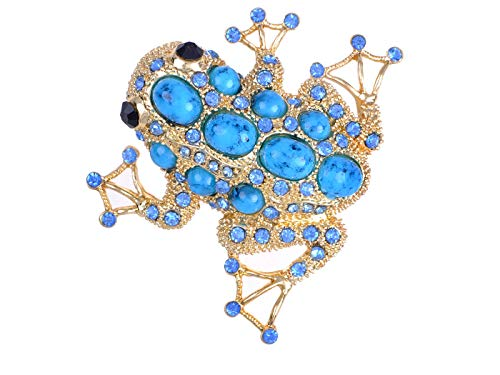 Sapphire Frog - Sapphire Crystal & Bead Embedded Golden Frog Toad Costume Jewelry Pin Brooch