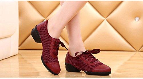 Abby 1802 Femmes Jazz Split Semelle Plate Fraîche Fermé Orteils Lacets Chaussures De Danse Moderne Rouge-a