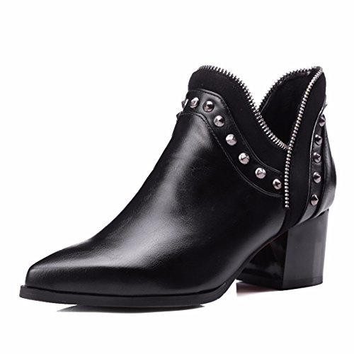 Big size women's shoes, European and American pointed bare boots, metal zippers, and short boots Black
